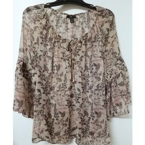 STYLE & CO. Sheer Floral Boho Top